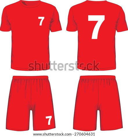 Set of soccer uniform front and back view. Vector illustration - stock vector