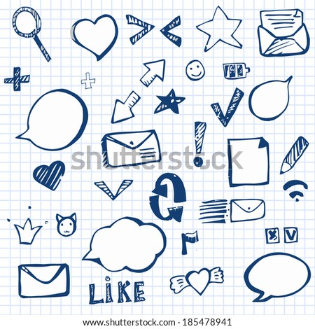 Set of social and digital icons  hand drawn on the notebook paper - stock vector