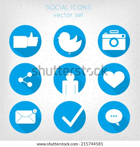 Set of social icons flat style. Like, bird, camera, connection, human, heart, mail, message, check, message dialog.