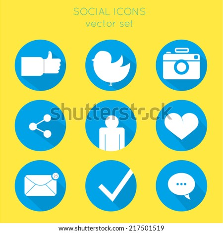 Set of social icons flat style. like, bird, camera, connection, human, heart, mail, message, check, dialog.