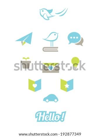 Set of social media icons - stock vector