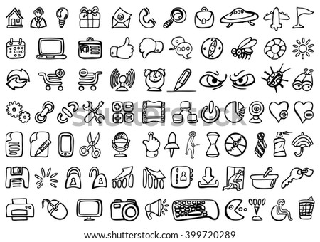 Set of 77 social media icons - hand drawn vector illustration, isolated on white - stock vector
