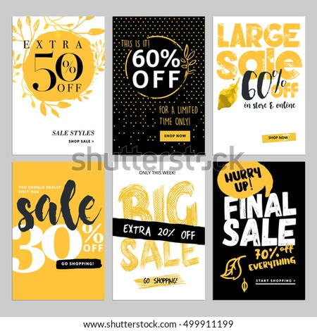 Set of social media sale banners, and ads web templates. Vector illustrations of season online shopping website and mobile website banners, posters, email and newsletter designs, ads, coupons.