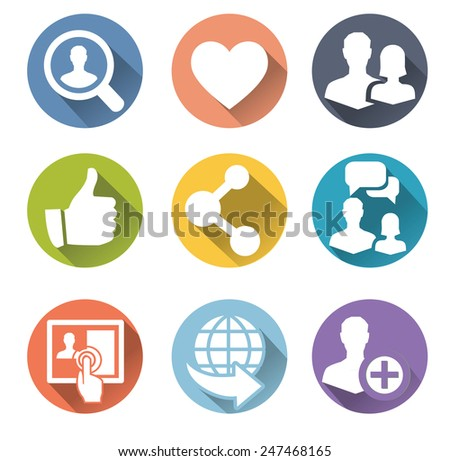 Set of 9 social network flat icons with heart, like, people, interface and other - stock vector