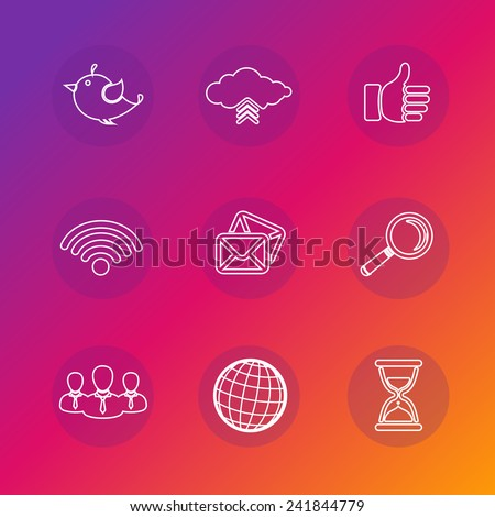 Set of social network icons in white silhouette vector illustration. Wifi, twitter bird, cloud computing, thumbs up, search, globe, mail. - stock vector