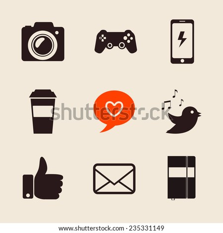 set of social network icons vector illustration with  like hand, mail, heart, foto camera, PS joystick, coffee cup, iphone, moleskine evernote - stock vector