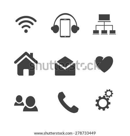 Set of social network icons with cloud computing, mail, people chat, heart and phone  - stock vector