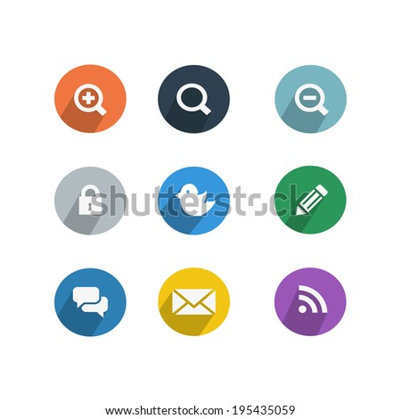 Set of social network icons with links twitter bird cloud computing mail like hand chain links people chat global network heart and contacts silhouette vector illustratio - stock vector