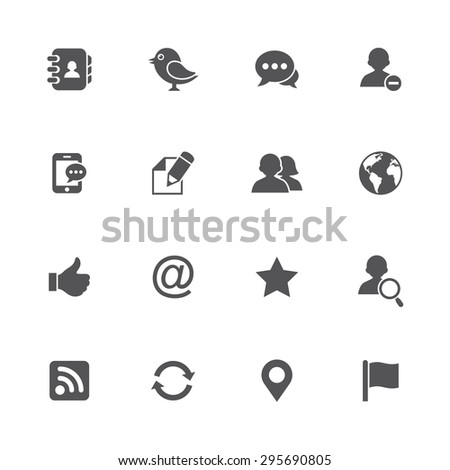 Set of 16 social networking icons