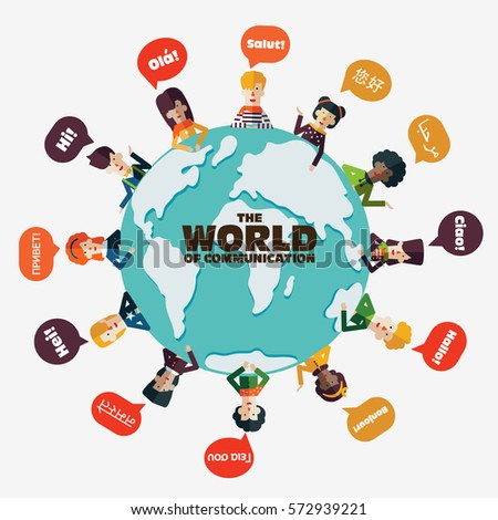 Set social people on world map stock photo photo vector set of social people on world map with speech bubbles in different languages male and publicscrutiny Gallery