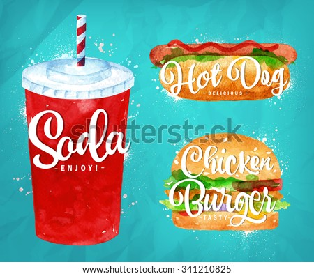 Set of  soda water, hot dog and chicken burger drawing with color paint on blue background. - stock vector