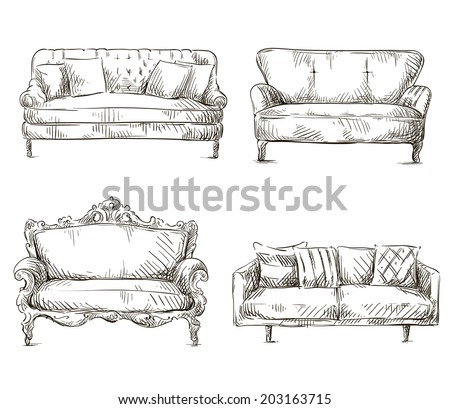 set of sofas drawings sketch style, vector illustration - stock vector