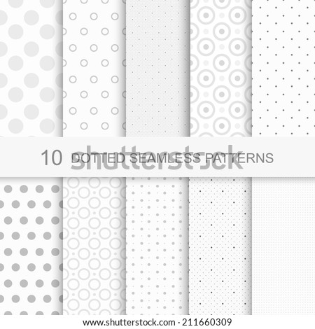 Set of soft seamless patterns with dots - stock vector