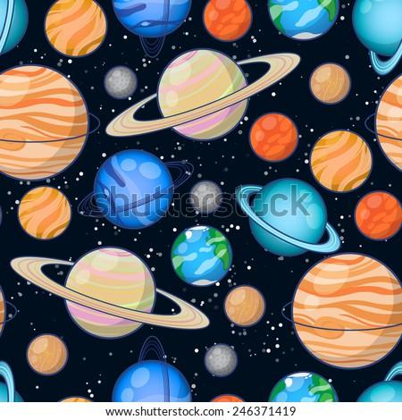 Set of Solar system planets: Mercury, Venus, Earth, Mars, Jupiter, Saturn, Uranus, Neptune, Pluto. Seamless space pattern background. - stock vector