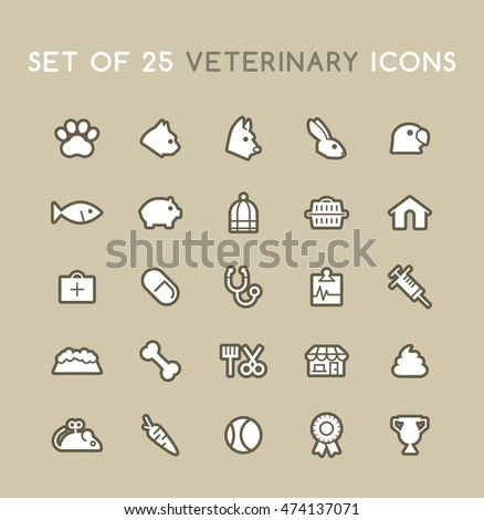 Set of Solid Veterinary Icons. Isolated Vector Elements.