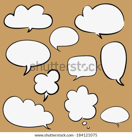 Set of some cartoon hand drawn speaking bubbles, contoured white and black, isolated design objects - stock vector