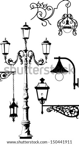 set of some street lantern - stock vector
