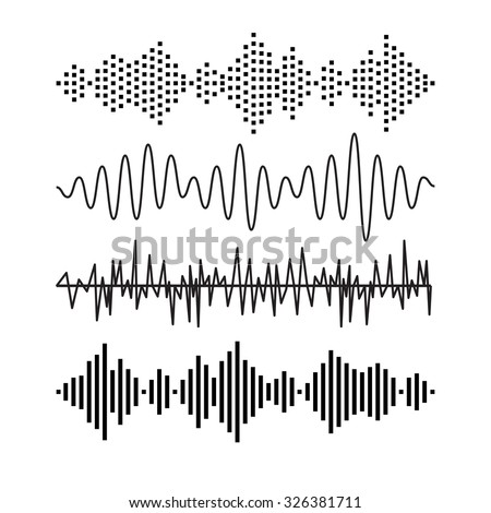 Set of sound audio waves music. EQ musical melody technology. Record vector. Musical wave form. Rocorder melody sound. Music wave elements  - stock vector