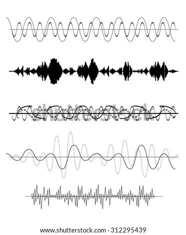 Set of Sound Wave. Vector Illustration. EPS10 - stock vector