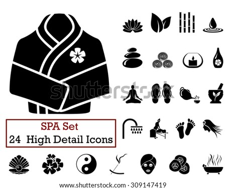 Set of 24 SPA Icons in Black Color. - stock vector