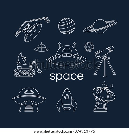 Set of space linear icons. Vector collection of flat line space icons