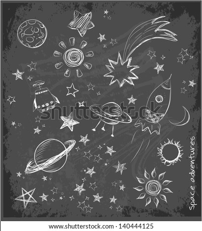 Set of space objects sketch on black chalkboard. Vector illustration. - stock vector