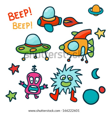 Set of Space ship and Cute aliens. Vector illustration