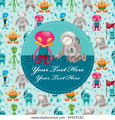 set of spaceman and ufo - stock vector
