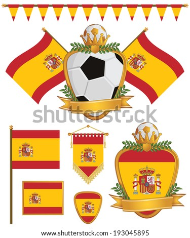 set of spain football supporter flags and emblems, isolated on white - stock vector