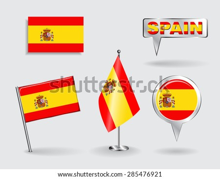 Set of Spanish pin, icon and map pointer flags. Vector illustration. - stock vector