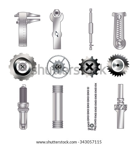 Set of spare parts, machining tools, industrial services:  circular saw, bearing screw, gear, cogwheel, coupling mechanisms, flare nut wrench,  bicycle chain, spark plug,  helical (coil) spring - stock vector