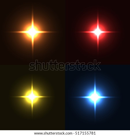 Set of sparkle lights with transparency effects. Collection of beautiful bright lens flares. Lighting effects of flash. Easy to use