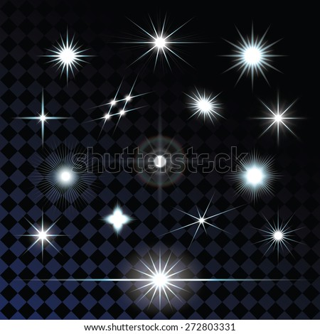 Set of sparkle lights with transparency effects. Eps 10 vector illustration. - stock vector