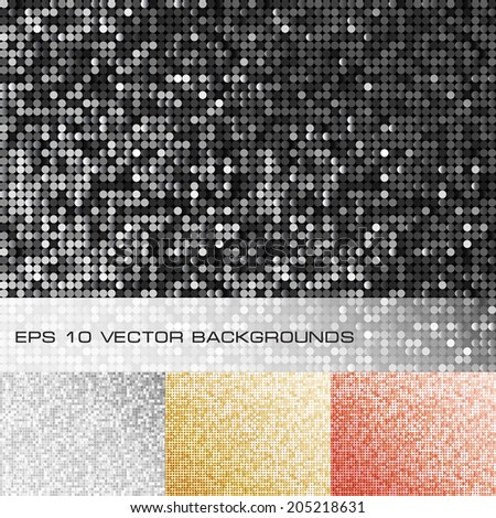 Set of sparkle sequin backgrounds. Eps10 vector. - stock vector