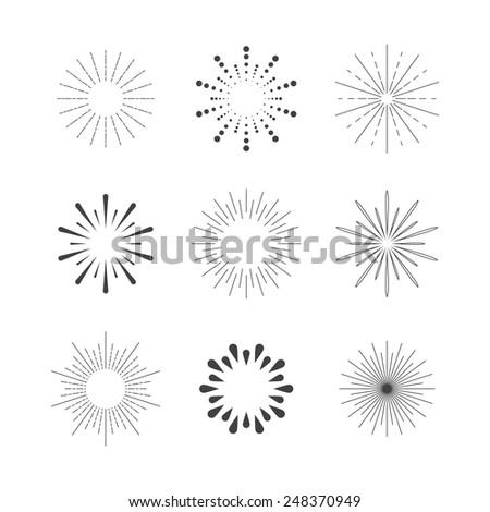 Set of Sparkles and Bursts. Flash Vintage Design Elements - stock vector
