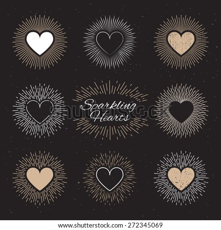Set of sparkling hearts on a black background for badges, logos, labels, stickers etc. Vector Illustration. - stock vector