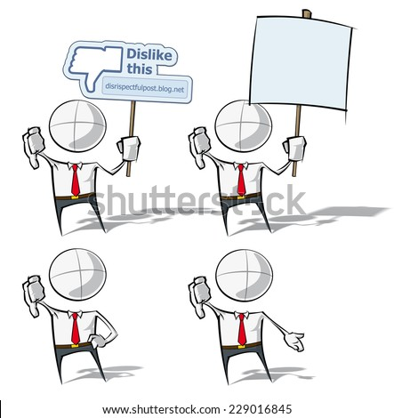 Set of sparse vector illustrations of a generic Business cartoon character on 4 dislike poses. - stock vector