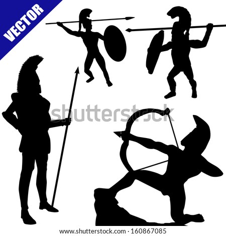Set of spartan hoplite silhouettes on white background, vector illustration