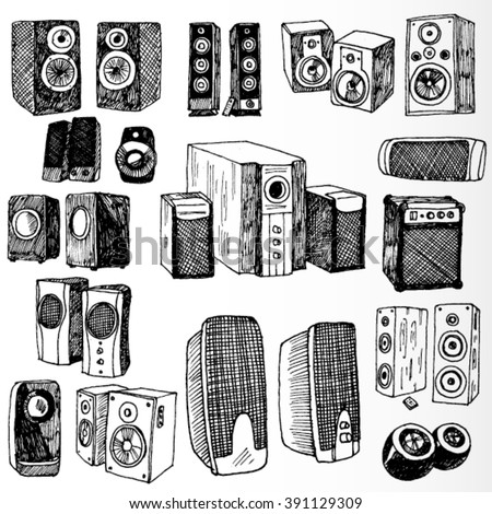 Set of Speakers Hand Drawn