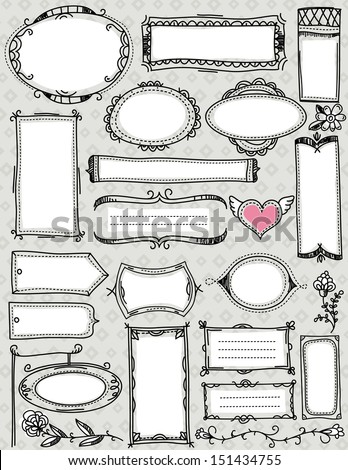 Set of special hand draw labels and banners , vector - stock vector