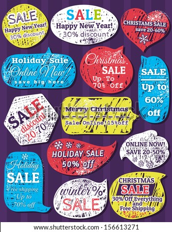 Set of special sale offer labels and banners for christmas, vector - stock vector