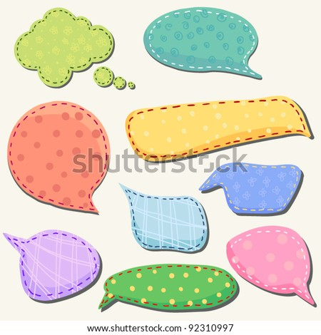 set of speech and thought blobs,  scrapbook design elements  vector - stock vector