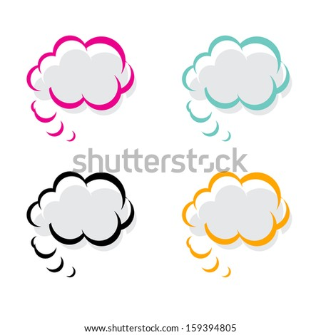 Set of speech and thought bubbles, element for design - stock vector
