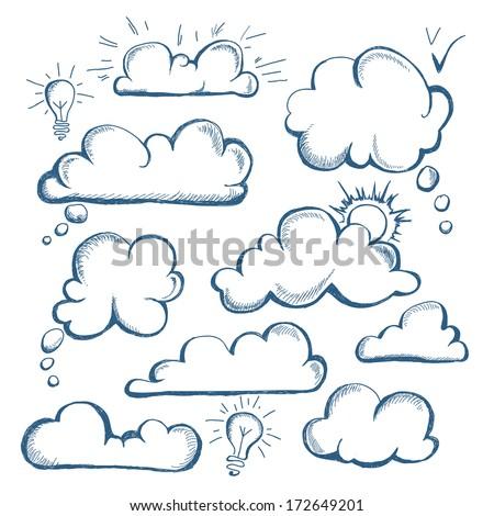 Set of speech  bubble. Cloud - stock vector