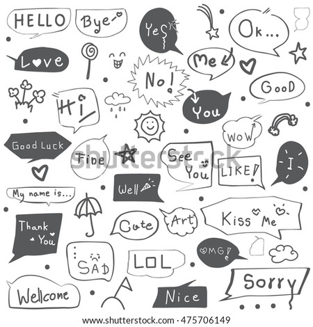 set of speech bubble doodle drawn with text in black outline vector