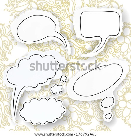 Set of speech bubbles, hand-drawn on scraps of torn paper against the background seamless pattern with swirls