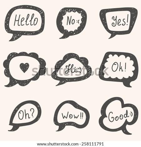 Set of speech bubbles. Hand drawn vector bubbles. Vector illustration - stock vector
