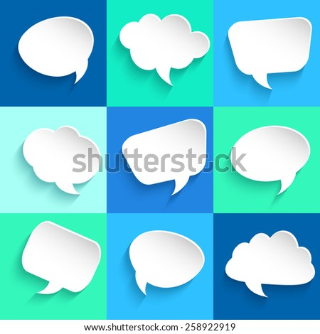 Set of speech bubbles on colorful background. Vector illustration - stock vector