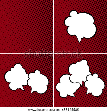 Set of Speech Bubbles on Red Background with Black Dots, Speech Bubbles on Pop Art Halftone Background, Retro Style, Vector Illustration