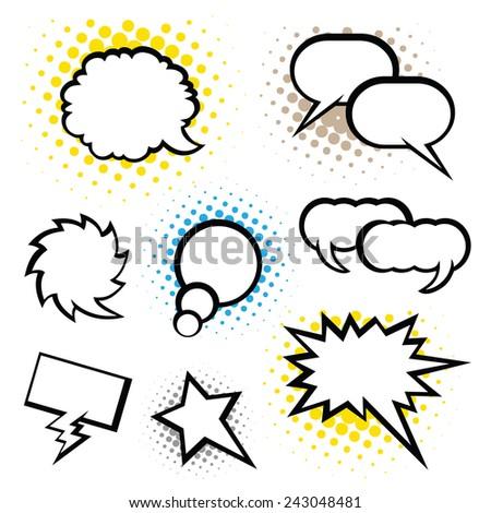 Set of speech bubbles, Pop Art style. speec - stock vector